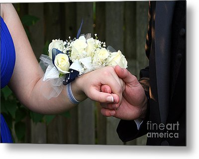 Holding Hand With Wrist Corsage Metal Print