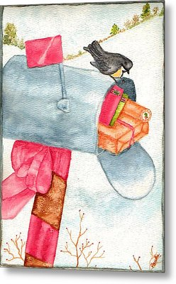 Metal Print featuring the painting Holiday Mail by Paula Ayers