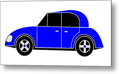 Hollande's Blue Beach Car - Virtual Car Metal Print by Asbjorn Lonvig