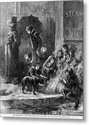 Homeless Women And Children Heating Metal Print by Everett