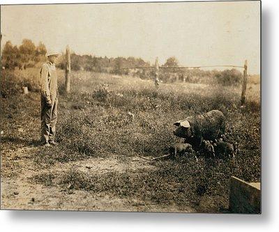 Homer Hunt Tending Pigs, Rockcastle Metal Print by Everett