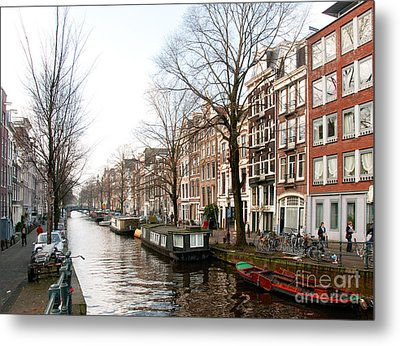 Metal Print featuring the digital art Homes Along The Canal In Amsterdam by Carol Ailles