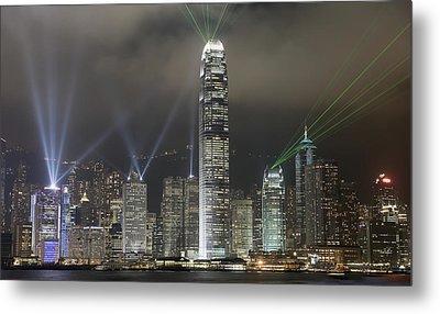 Hong Kong Light Show, At Night, Over Metal Print by Axiom Photographic