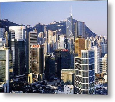 Hong Kong Skyline At Sunrise Metal Print