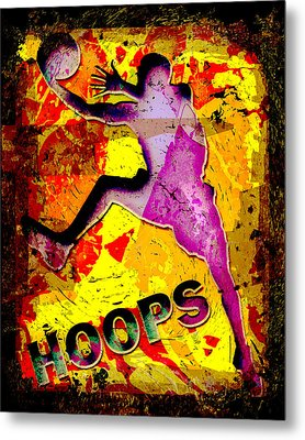 Hoops Basketball Player Abstract Metal Print by David G Paul