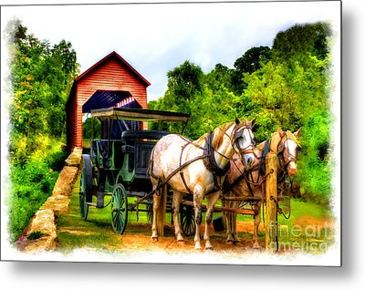 Horse And Buggy In Front Of Covered Bridge Metal Print by Dan Friend