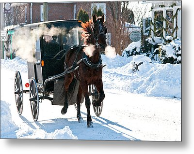 Horse And Buggy In The Snow Metal Print