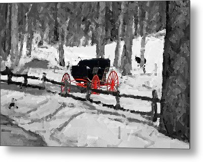Horse And Buggy - No Work Today - Abstract Metal Print by Janice Adomeit