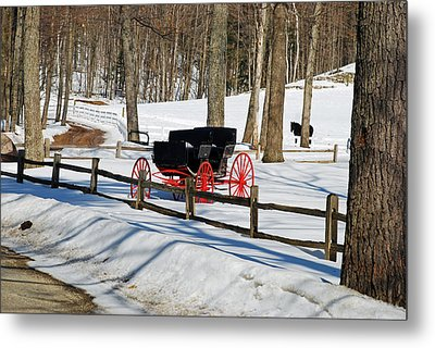 Horse And Buggy - No Work Today Metal Print by Janice Adomeit
