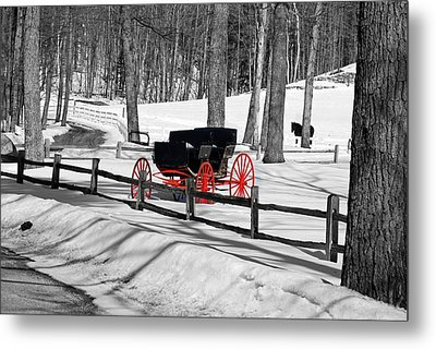Horse And Buggy - No Work Today No. 2 Metal Print by Janice Adomeit
