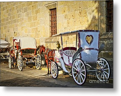 Horse Drawn Carriages In Guadalajara Metal Print by Elena Elisseeva