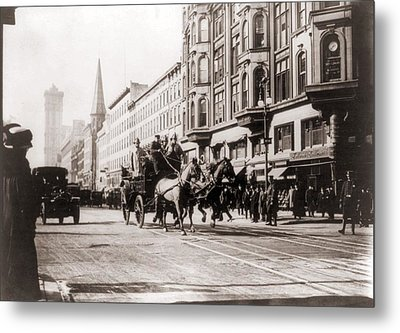 Horse-drawn Fire Engines In Street Metal Print by Everett