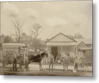 Horse-drawn Ice Wagon And Workers Metal Print by Everett