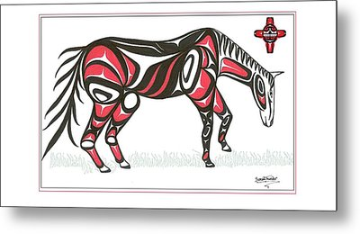 Horse Grass Sun Red Metal Print by Speakthunder Berry