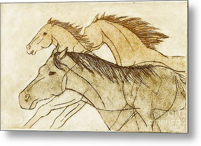 Metal Print featuring the drawing Horse Sketch by Nareeta Martin
