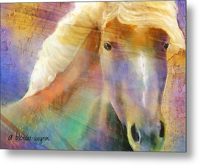 Horse With The Golden Mane Metal Print by Arline Wagner