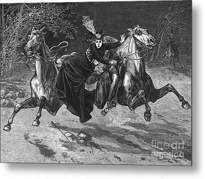 Horseback Riding Accident Metal Print by Granger