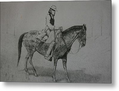 Metal Print featuring the drawing Horseman by Stacy C Bottoms