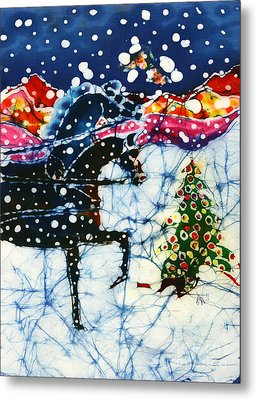 Horses Trot To The Christmas Tree Metal Print by Carol Law Conklin