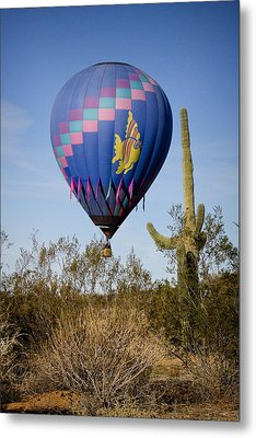 Hot Air Balloon Flight Over The Lush Arizona Desert Metal Print by James BO  Insogna