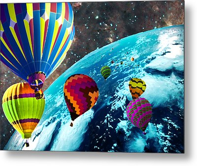 Hot Air Balloon Space Race Metal Print by Michael Ambrose
