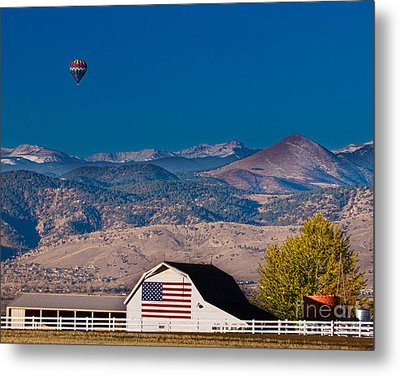 Hot Air Balloon With Usa Flag Barn God Bless The Usa Metal Print by James BO  Insogna