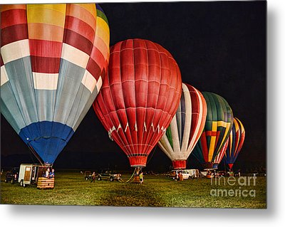 Hot Air Balloons Night Launch Metal Print by Paul Ward