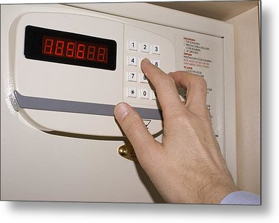 Hotel Safe Keypad. Metal Print by Mark Williamson