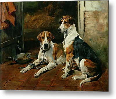 Hounds In A Stable Interior Metal Print by John Emms
