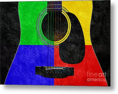 Hour Glass Guitar 4 Colors 1 Metal Print by Andee Design