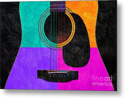 Hour Glass Guitar 4 Colors 2 Metal Print by Andee Design