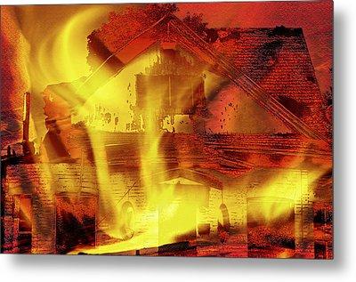 House Fire Illustration 2 Metal Print by Steve Ohlsen
