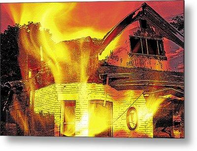 House Fire Illustration Metal Print by Steve Ohlsen