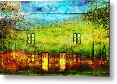 Metal Print featuring the painting House In The Forest by Susan  Solak