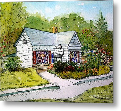 Metal Print featuring the painting House Of Flowers by Gretchen Allen