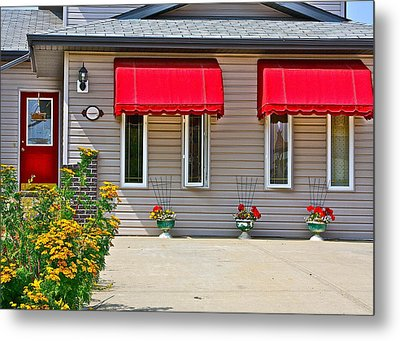 House With Red Shades. Metal Print