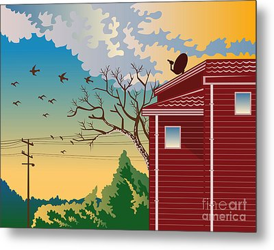 House With Satellite Dish Retro Metal Print by Aloysius Patrimonio