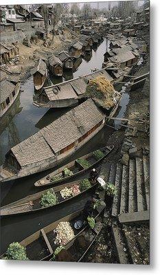 Houseboats Line A Waterway Metal Print by Gordon Wiltsie