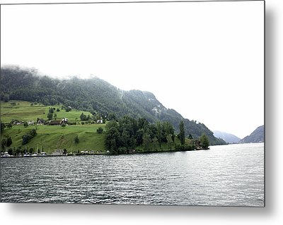 Houses On The Slope Of A Mountain Next To Lake Lucerne Metal Print by Ashish Agarwal