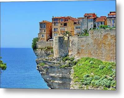 Houses On Top Of Cliff Metal Print