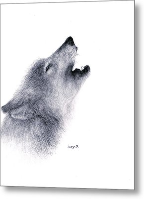 Metal Print featuring the drawing Howl by Lucy D