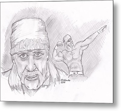Metal Print featuring the drawing Hulk Hogan- Immortal by Chris  DelVecchio