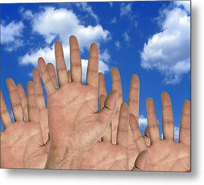 Human Hands And The Sky, Conceptual Image Metal Print by Victor De Schwanberg
