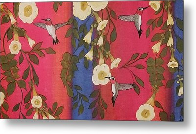 Hummingbird Picnic Metal Print by Cindy Micklos