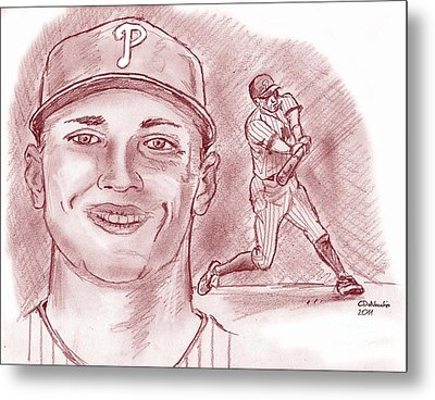 Metal Print featuring the drawing Hunter Pence by Chris  DelVecchio