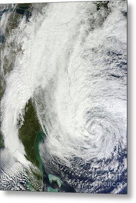 Hurricane Sandy Off The Southeastern Metal Print by Stocktrek Images