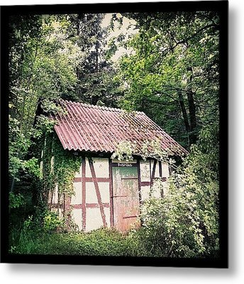 Hut In The Forest Metal Print by Matthias Hauser