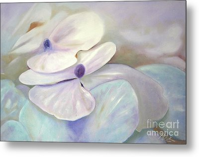 Metal Print featuring the painting Hydrangea Petals by Michael Rock