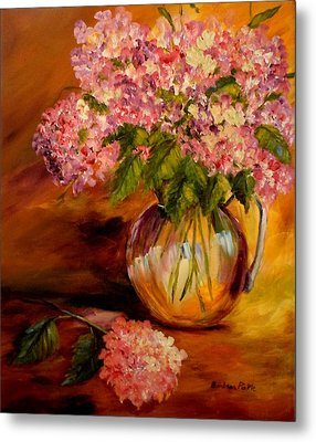 Hydrangeas From The Garden Metal Print by Barbara Pirkle