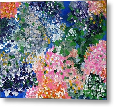 Metal Print featuring the painting Hydrangeas I by Alys Caviness-Gober